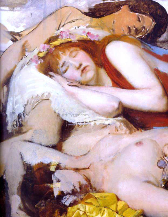Sir Lawrence Alma-Tadema Exhausted Maenides After the Dance - Canvas Art Print