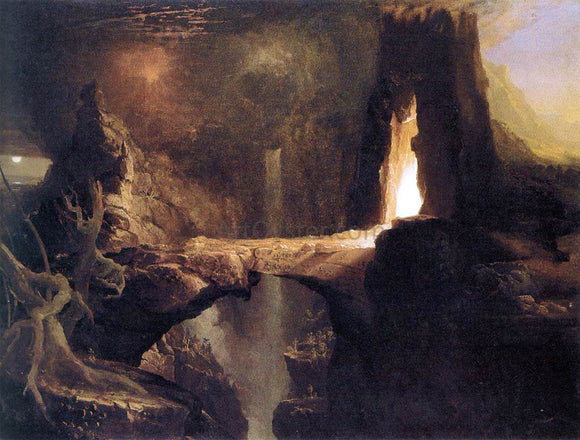 Thomas Cole Expulsion, Moon and Firelight - Canvas Art Print