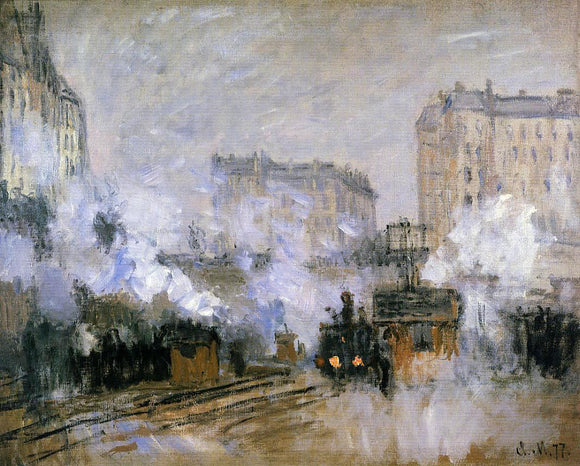 Claude Oscar Monet Exterior of the Saint-Lazare Station, Arrival of a Train - Canvas Art Print