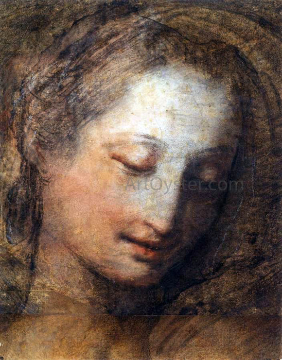 Federico Fiori Barocci Face of a Woman with Downcast Eyes - Canvas Art Print