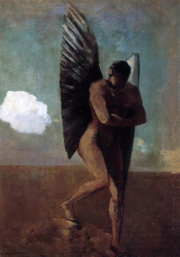 Odilon Redon Fallen Angel Looking at at Cloud - Canvas Art Print