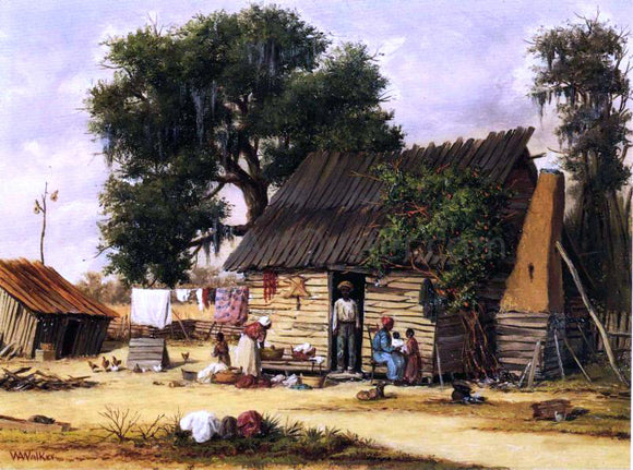 William Aiken Walker Family Gathered by a Cabin - Canvas Art Print