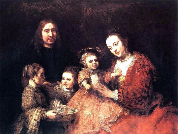 Rembrandt Van Rijn Family Group - Canvas Art Print