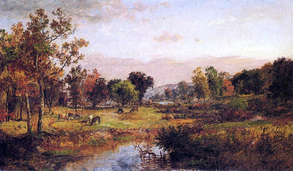 Jasper Francis Cropsey Farm Along the River - Canvas Art Print