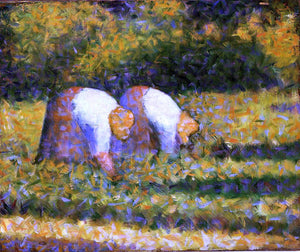Georges Seurat Farm Women at Work - Canvas Art Print