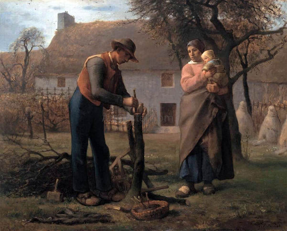 Jean-Francois Millet Farmer Inserting a Graft on a Tree - Canvas Art Print