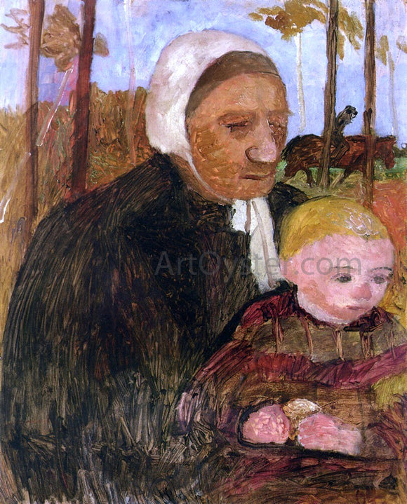 Paula Modersohn-Becker Farmwoman with Child, Rider in the Background - Canvas Art Print