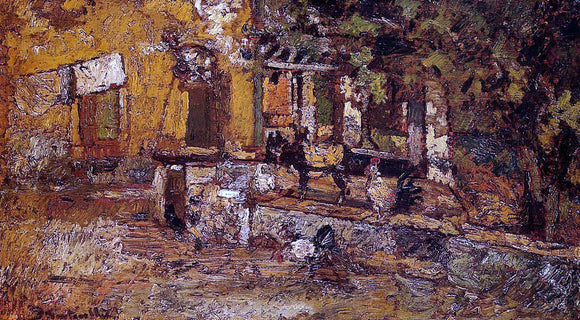 Adolphe-Joseph-Thomas Monticelli Farmyard with Donkeys and Roosters - Canvas Art Print