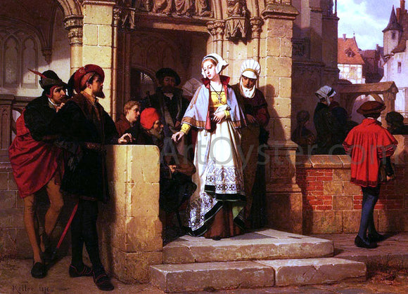 Wilhelm Koller Faust and Mephistopheles Waiting for Gretchen at the Cathedral Door - Canvas Art Print