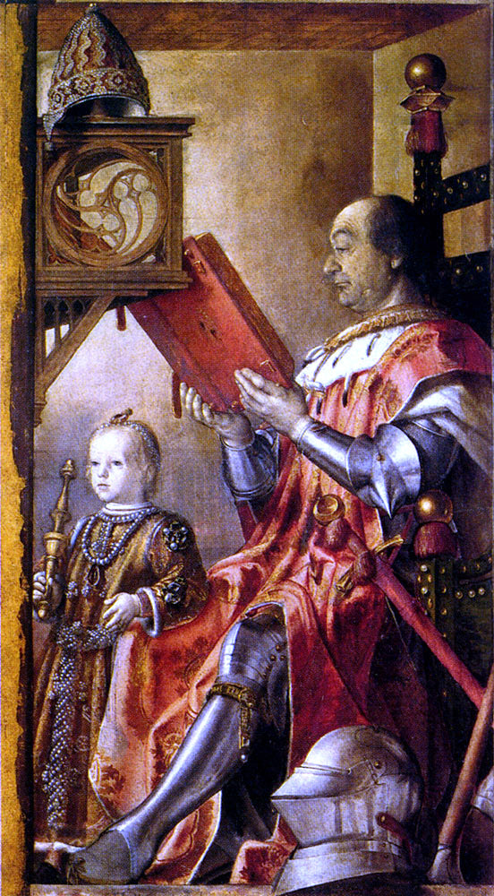 Pedro Berruguete Federico Da Montefeltro With His Son Guidobaldo - Canvas Art Print