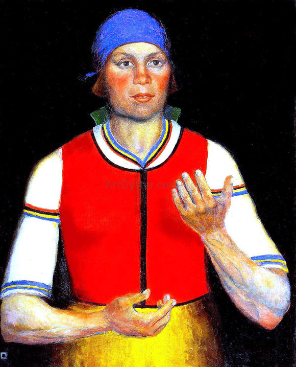 Kasimir Malevich Female Worker in Red - Canvas Art Print