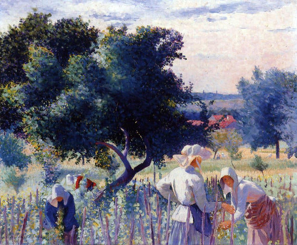 Henri Edmond Cross Femmes Liant La Vigne - Canvas Art Print