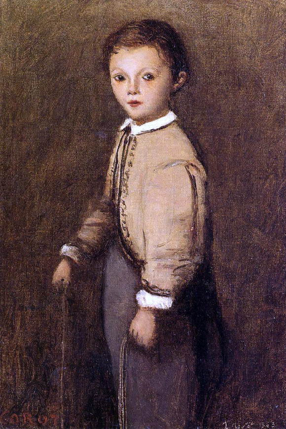 Jean-Baptiste-Camille Corot Fernand Corot, the Painter's Grand Nephew, at the Age of 4 and a Half Years - Canvas Art Print