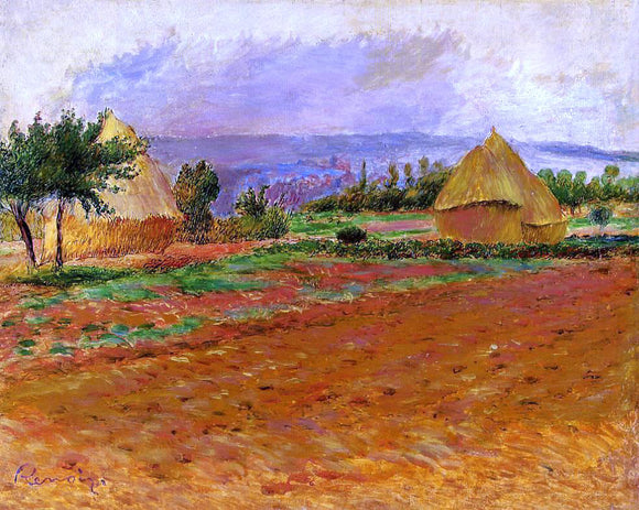 Pierre Auguste Renoir Field and Haystacks - Canvas Art Print
