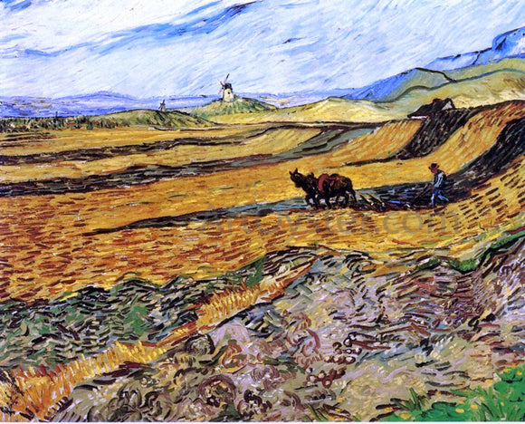 Vincent Van Gogh A Field and Ploughman and Mill - Canvas Art Print