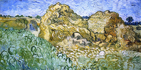 Vincent Van Gogh Field with Stacks of Wheat - Canvas Art Print