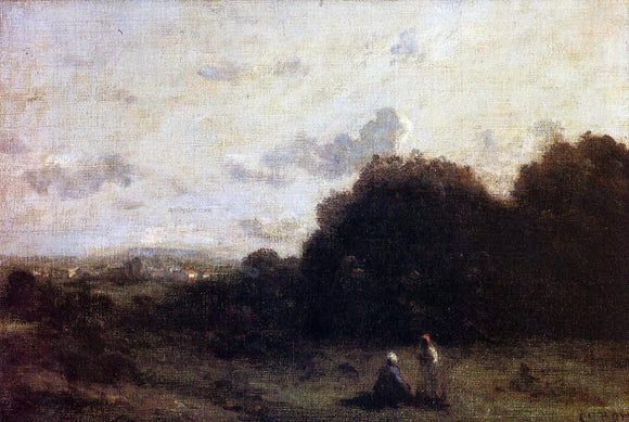 Jean-Baptiste-Camille Corot Fields with a Village on the Horizon, Two Figures in the Foreground - Canvas Art Print