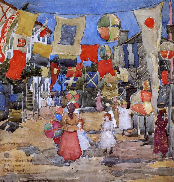 Maurice Prendergast Fiesta - Venice - S. Pietro in Volta (also known as The Day Before the Fiesta, St. Pietro in Volte) - Canvas Art Print
