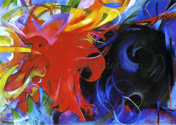 Franz Marc Fighting Forms - Canvas Art Print
