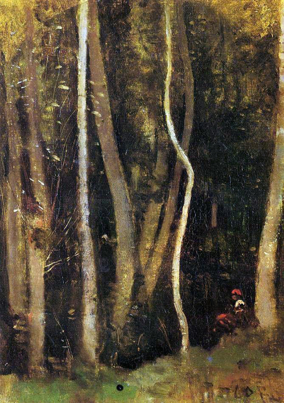 Jean-Baptiste-Camille Corot Figures in a Forest - Canvas Art Print