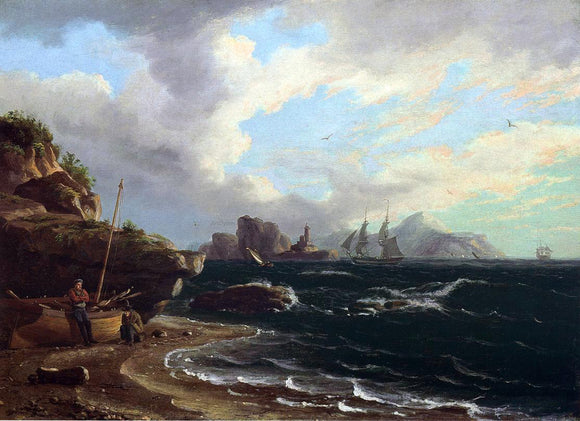 Thomas Birch Figures with Docked Boat at Shoreline - Canvas Art Print