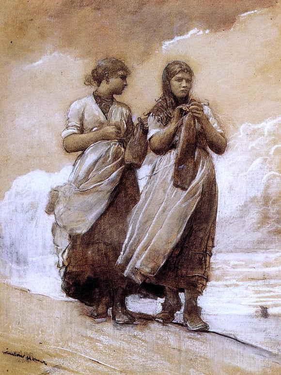 Winslow Homer Fishergirls on Shore, Tynemouth - Canvas Art Print