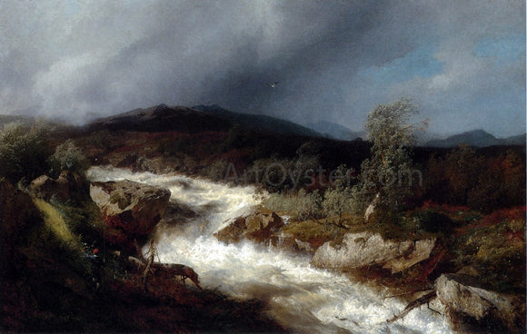 Herman Herzog Fisherman by a Waterfall - Canvas Art Print