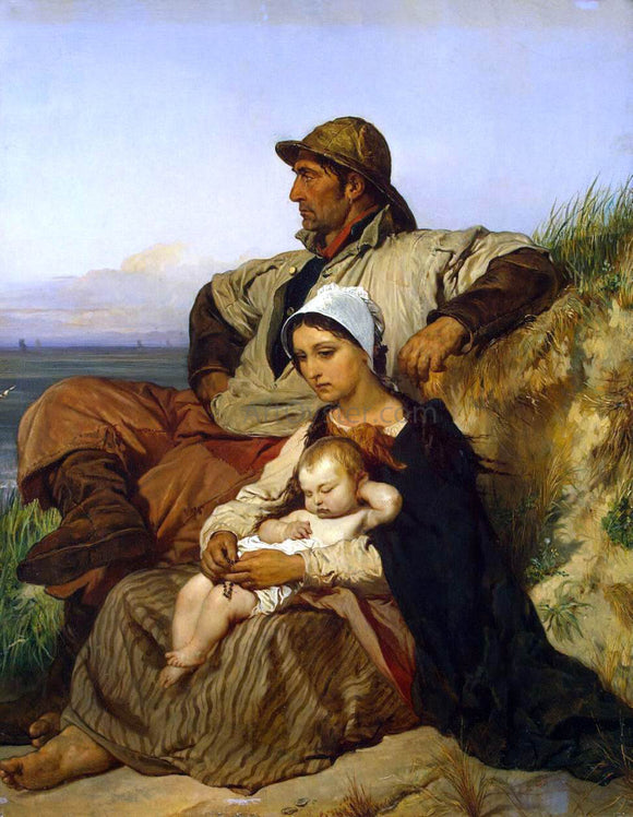 Louis Gallait Fisherman's Family - Canvas Art Print