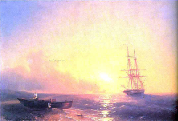 Ivan Constantinovich Aivazovsky Fishermen on Coast of Sea - Canvas Art Print