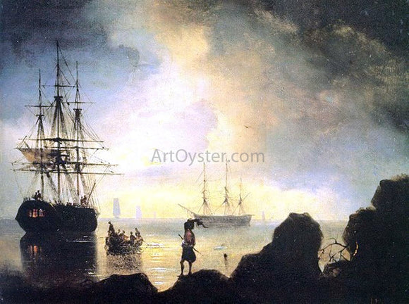 Ivan Constantinovich Aivazovsky Fishermen on the Shore - Canvas Art Print
