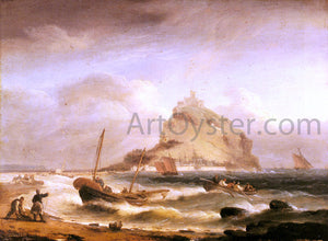 Thomas Luny Fishermen Rowing in, Before St. Michael's Mount - Canvas Art Print