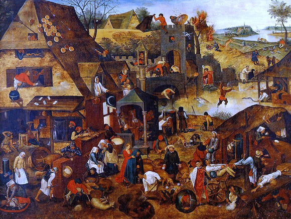 The Younger Pieter Bruegel Flemish Proverbs - Canvas Art Print