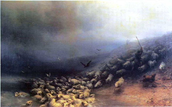 Ivan Constantinovich Aivazovsky Flock of Sheep at Gale - Canvas Art Print