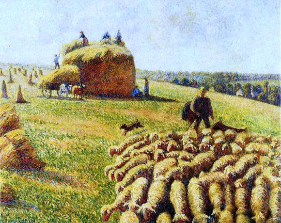 Camille Pissarro Flock of Sheep in a Field After the Harvest - Canvas Art Print