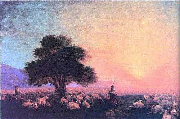 Ivan Constantinovich Aivazovsky Flock of sheep with herdsmen, sunset - Canvas Art Print