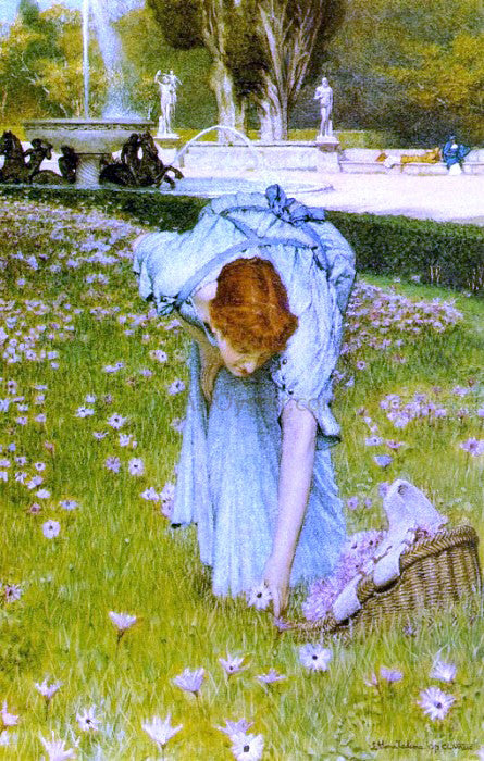 Sir Lawrence Alma-Tadema Flora: Spring in the Gardens of the Villa Borghese - Canvas Art Print