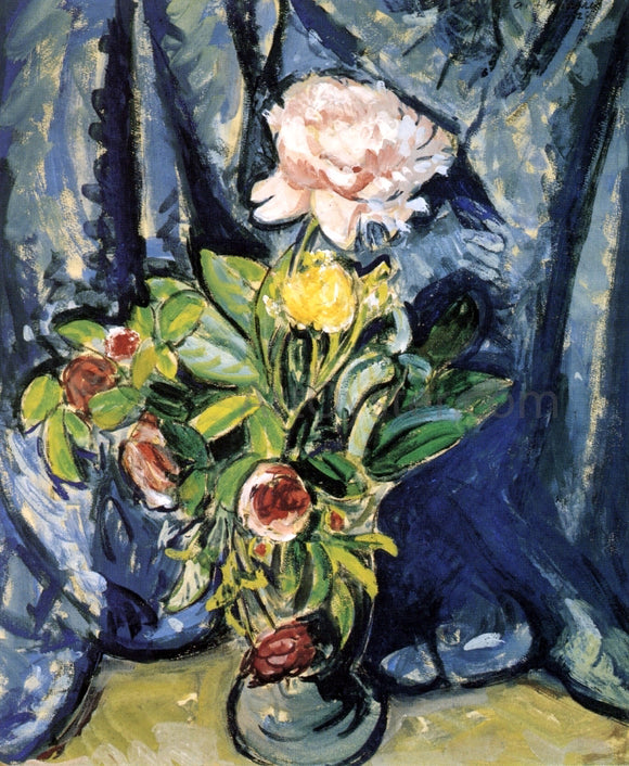 Alfred Henry Maurer Flowers Against a Blue Drape - Canvas Art Print