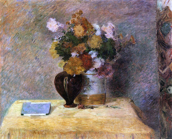 Paul Gauguin Flowers and Japanese Book - Canvas Art Print