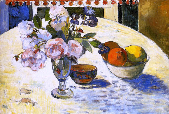 Paul Gauguin Flowers in a Fruit Bowl - Canvas Art Print