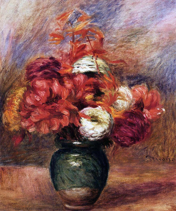 Pierre Auguste Renoir Flowers in a Green Vase - Dahlilas and Asters - Canvas Art Print