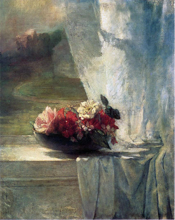 John La Farge Flowers in a Persian Porcelain Water Bowl (also known as Flowers on a Windowsill) - Canvas Art Print