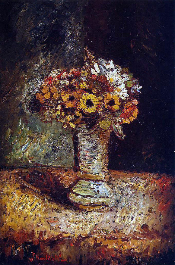 Adolphe-Joseph-Thomas Monticelli Flowers in a Vase - Canvas Art Print