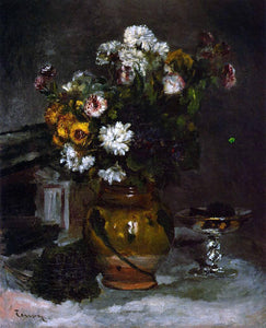 Pierre Auguste Renoir Flowers in a Vase and a Glass of Champagne - Canvas Art Print