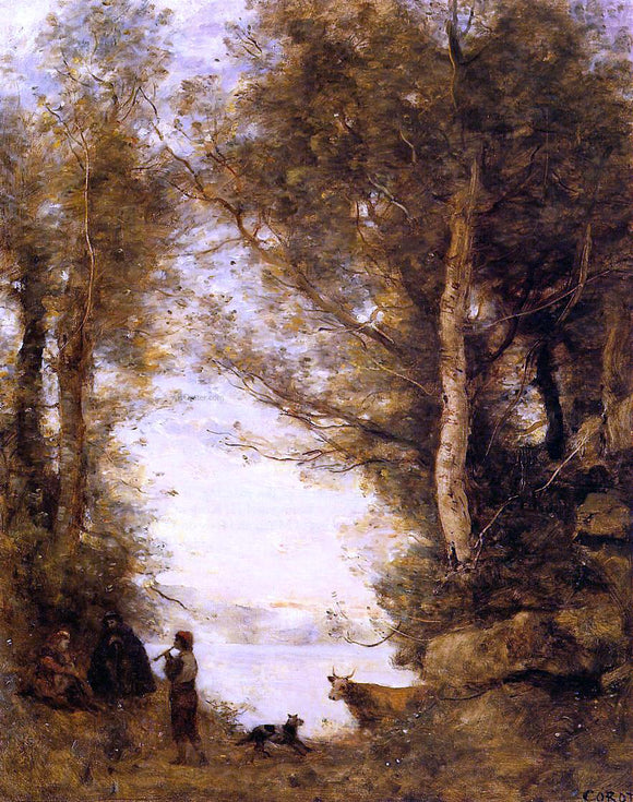 Jean-Baptiste-Camille Corot Flute Player at Lake Albano - Canvas Art Print