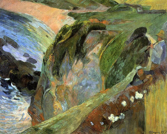 Paul Gauguin Flutist on the Cliffs - Canvas Art Print