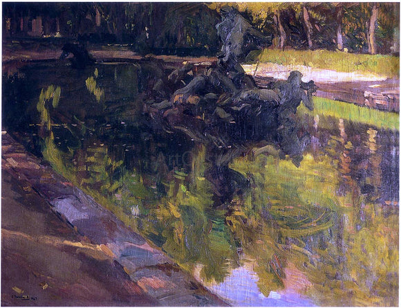 Joaquin Sorolla Y Bastida Fountain of Neptune, La Granja - Canvas Art Print