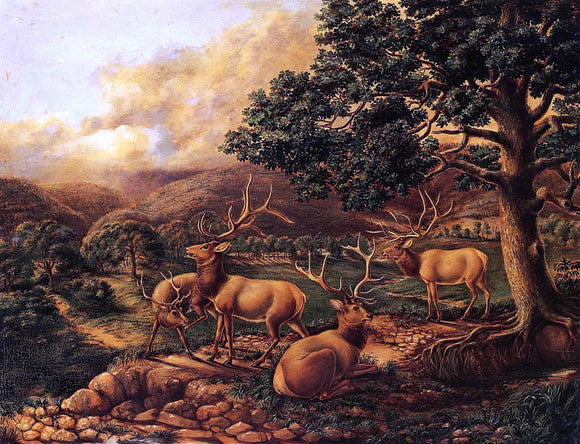 II Titian Ramsey Peale Four Elk - Canvas Art Print