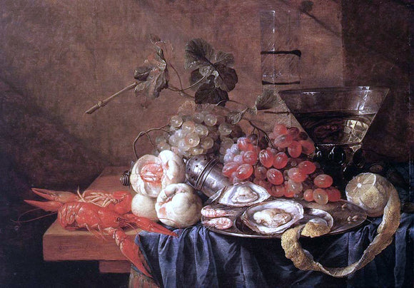 Jan Davidsz De Heem Fruit and Seafood - Canvas Art Print