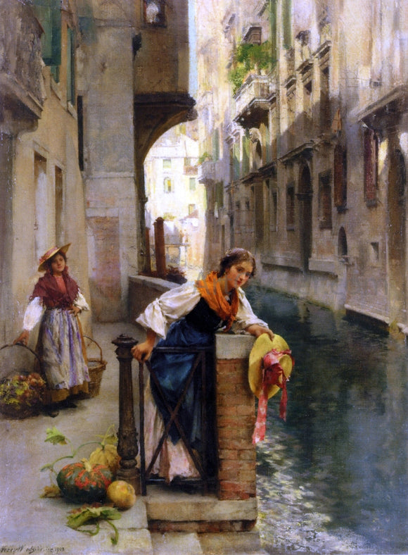 David Roberts Fruit Sellers from the Islands, Venice - Canvas Art Print