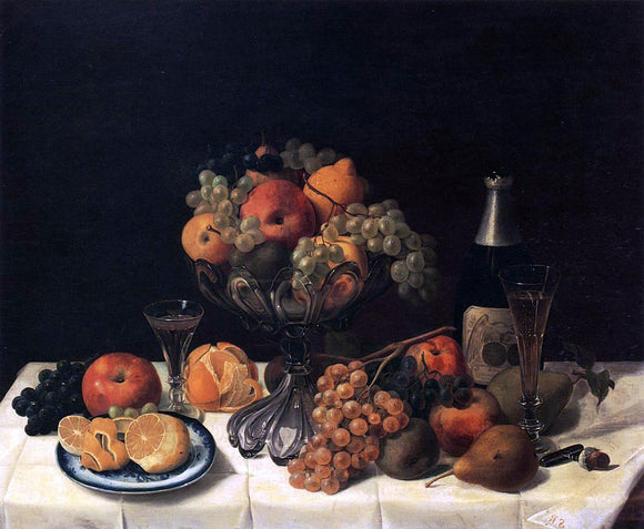 Severin Roesen Fruit Still Life with Champagne Bottle - Canvas Art Print